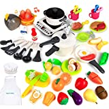 50PCS Kitchen Toys Play Cooking Toys Set with Cookware Playset, Steam Pressure Pot, Cutting Play Food, Egg...