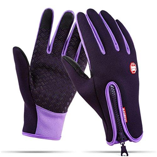 QS_Go guantes de hombre Guantes con cremallera guantes de esqui guantes ski guantes para nieve guantes snow guantes caballero Cálidos Guantes Deportivos para Hombres y Mujeres (Morado, XL)