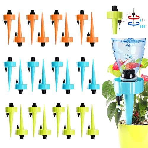 Feliciay 24 picos de riego automático, riego ajustable de plantas, riego automático por goteo, interruptor de válvula de control de liberación lenta para plantas interiores y exteriores