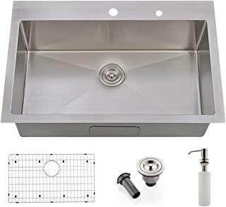 VOKIM Commercial 33 inch 16 Gauge Drop-in Topmount Single Bowl Basin Handmade Stainless Steel Kitchen Sink,with Stainless Steel Soap Dispenser