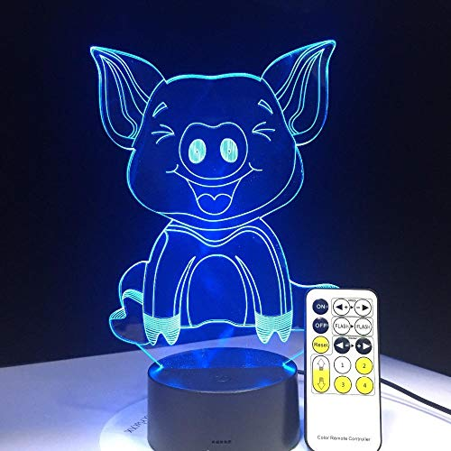 3D LED Lamps Lava lampeez Table Desk Optical Illusion Cute Pig 3D Illusion Lamp Visual Effect Night Light RF Ble Remote Touch Control USB Cable Creative Holiday Gift SGKL