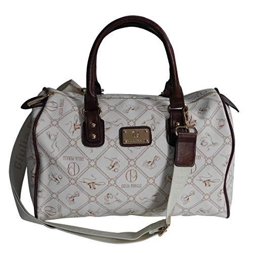 Giulia Pieralli - Damen Glamour Handtasche Damentasche Tasche Henkeltasche Bowling Tasche Umhängetasche - präsentiert von ZMOKA® in versch. Farben (Weiss-Bianco)