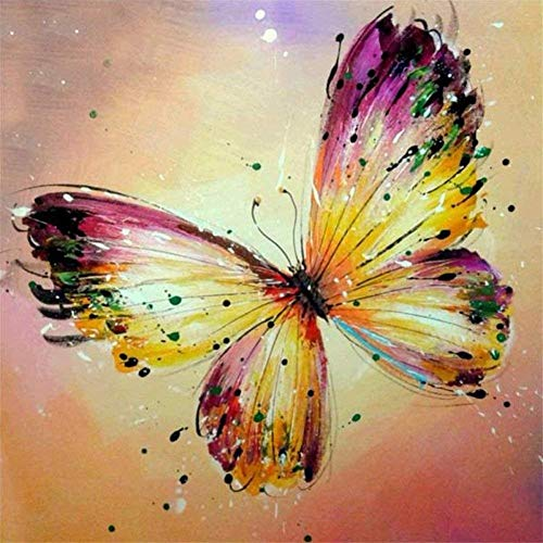 DIY 5D Diamond Painting Set Butterfly,Adults Full Drill Crystal Rhinestone Embroidery Cross Stitch by Number Kits Mosaic Canvas Arts Craft for Home Wall Decor D8198 Round Drill,25x25cm (9.8x9.8in)