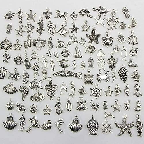 50 stücke gemischt stil tibetan silber gemischte mixelahorse shell starfish schildkröte ozean charms anhänger und 100 stücke blume perlen kappen schmuck diy zubehör ( Color : 50Pcs Mixed style )