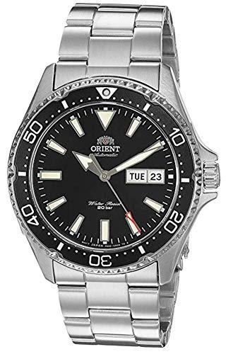 Orient Kamasu - Reloj de buceo automático japonés para hombre (acero inoxidable), Black - Metal Bracelet
