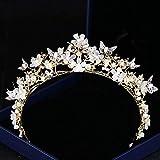 KEEBON Crystal Bridal Tocado Crown Accesorios de Boda Diamante Cristal Corona Tocado Nupcial Crown Crown HG244 Pulseras de Oro Pendientes Anillos Collares