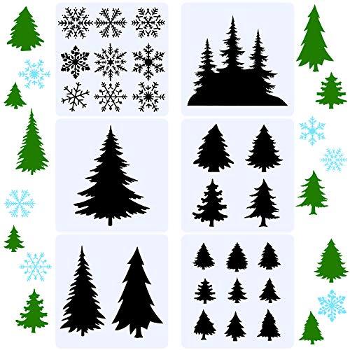 6 Stücke 10 Zoll Weihnachtsbaum Schneeflocke Schablonen Wiederverwendbar Baum Schneeflocken Schablone Kunststoff Urlaub Malerei Dekor Vorlage für Weihnachten Fenster Basteln Dekoration