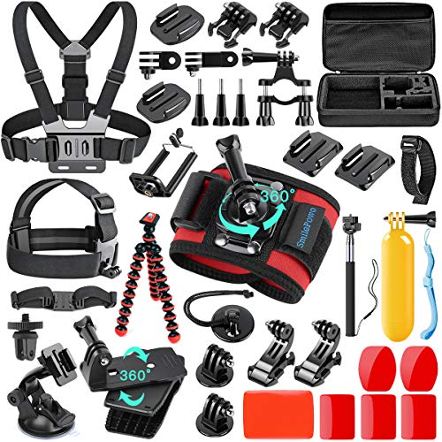 SmilePowo 42-in-1 Accessorries Kit for for GoPro Hero 8 Max 7 6 5 4 3 3+ 2 1 Black GoPro 2018 Session Fusion Insta360 DJI AKASO APEMAN YI Campark SJCAM XIAOMI Action (Camera Carrying Case/Chest Strap)