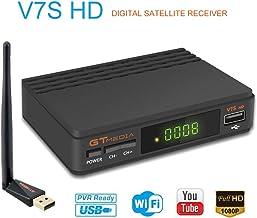 GT Media V7s HD DVB-S2 Decodificador de Receptor Satelital Freesat V7 HD Actualización con Antena USB WiFi FTA 1080P Full HD Compatible con Ccam, Newcam, PVR, Youtube, PowerVu, Dre y Biss Clave