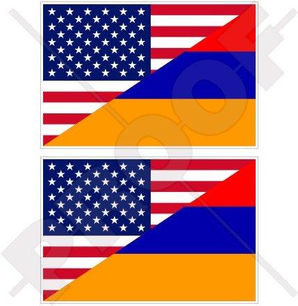 USA United States of America et drapeau de l'Arménie, américain et arménien 10,2 cm (100 mm) Vinyle Bumper Stickers, décalcomanies X2