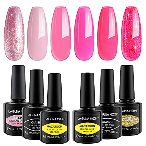 Lagunamoon Esmaltes Semipermanentes de Uñas en Gel UV LED, 8ml 6 Colores Kit de Vibra de Rosa de Tono de Rosa, Esmaltes de Uñas Soak off