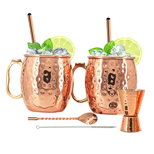 Kitchen Science Moscow Mule Stainless Steel Lined Copper Mugs Set of 2 (18oz) w/ 2 Straws, 1 Jigger, 1 Spoon & 1 Brush | New Thumb Rest, Tarnish-Resistant Steel Interior & Lacquered Copper Exterior
