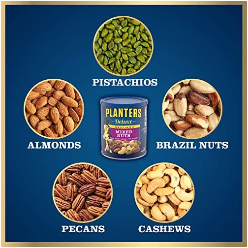 Planters Deluxe Lightly Salted Mixed Nuts (15.25 oz Canister) | Variety Mixed Nuts with Cashews, Almonds, Hazelnuts… 4