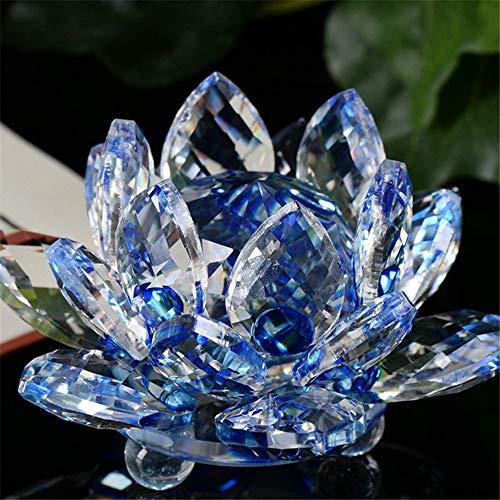 Konxxtt Home Decor, Lotus Crystal Glass Figurine Paperweight Ornament Feng Shui Decor Collection Romantic Gift(Blue,Diameter: 2.36