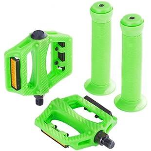 """Zombie BMX Bike 1/2"""" Pedals & 22.2mm Handlebar Grips Set - Green"""