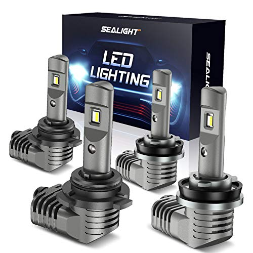 SEALIGHT H11/H8 Low Beam 9005/HB3 High Beam LED Headlight Bulbs Combo, 1:1 Size Design Plug-N-Play, 15,000LM 6000K Bright White CSP Chips Conversion Kit, IP67 with Fan, Scoparc S2 Series, Pack of 4