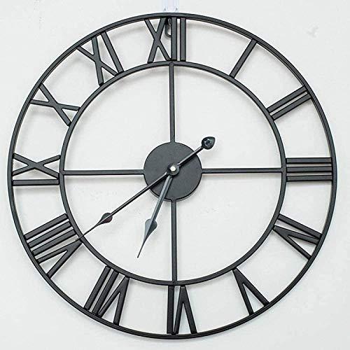 BCBKD Reloj de Pared de Metal Silencioso Vintage Antiguo Grande Sin Tictac Reloj de Pared Decorativo de Números Romanos con Pilas para Sala de Estar Dormitorio Cocina Black,60cm