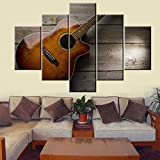 5 Piece Canvas Wall Art Wooden Guitar Pictures for Living Room Brown Music Equipment Paintings HD Prints Sunset Vintage Artwork Rustic House Decor Framed Gallery-Wrapped Ready to Hang(60''Wx40''H)