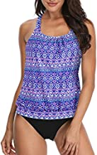 Yonique Blouson Tankini Swimsuits for Women Loose Fit Floral Printed Two Piece Bathing Suits Colorful M