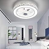 Ventilador de techo con control de luz y control remoto, 22 pulgadas LED moderna semi de montaje de montaje con flujo de fachada, diseño de sombra hueca, 7 cuchillas de acrílico, 3 colores 3 velocidad