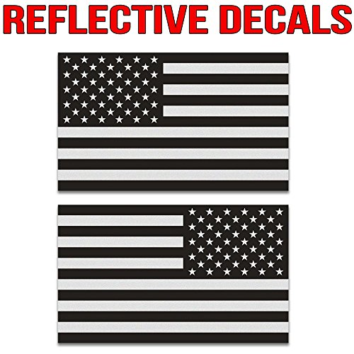 Classic Biker Gear Ghosted Subdued American Flag car Decal, Silver with ghosted Black Print, 1.8' X 3', Pair, Hard Hat, Lunch Box, Vinyl Decal car Sticker