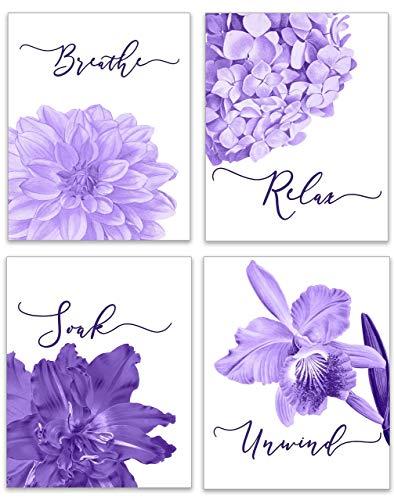 Purple Bathroom Wall Decor - Relax Soak Unwind Breathe Bathroom Decor Sets - Purple Flower Art Pictures - Floral Artwork for Bath - Set of 4 PRINTS - 8x10 - UNFRAMED