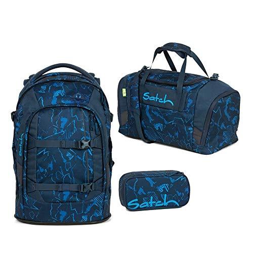 Satch Pack Schulrucksack Set 3tlg. (SchlamperBox und Sporttasche) (Pack Blue Compass)