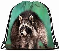 愛らしい飼いならされたアライグマは屋内の緑の動物を演じます子供のための野生生物の巾着バックパックバッグ男の子女の子十代の誕生日、学校とパーティーのためのギフトストリングバッグジムシンチサック