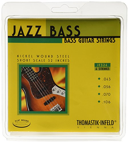 Thomastik Cuerdas para Bajo Eléctrico Jazz Bass Serie niquel entorchado plano juego 4 cuerdas JF324 escala corta 32'