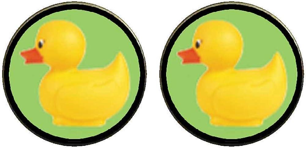 GiftJewelryShop Bronze Retro Style Rubber Duckie Photo Clip On Earrings 14mm Diameter