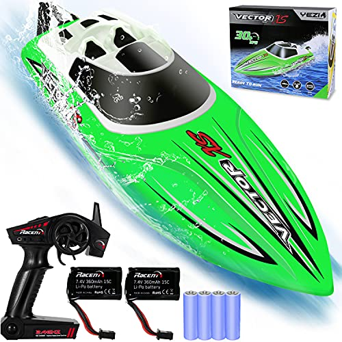 YEZI Remote Control Boat for Pools & Lakes,Udi001 Venom Fast RC Boat for Kids & Adults,Self Righting Remote Controlled Boat W/Extra Battery (Green)