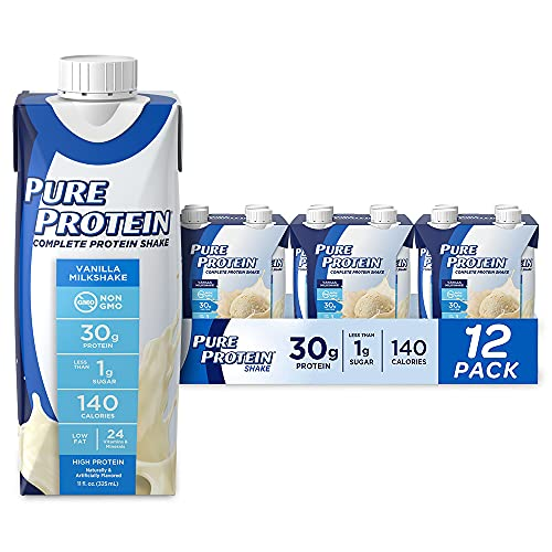 Pure Protein Vanilla Protein Shake | 30g Complete Protein | Ready to Drink and Keto-Friendly | Vitamins A, C, D, and E plus Zinc to Support Immune Health | 11oz Bottles | 12 Pack