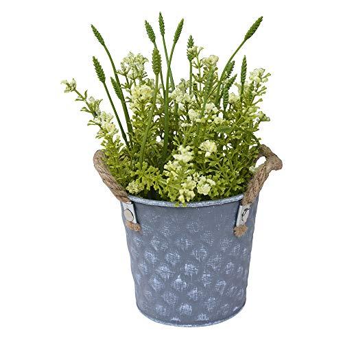 Hogar & Mas bloempot metaal vintage vorm kubus bloempot kunstbloemen wit gepatineerd 23 x 10,5 x 12 cm