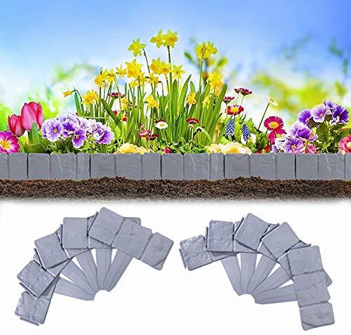 GAODA Bordes para Jardin, delimitadores de Bordes para decoración de jardín cercado de plástico Valla Jardin plastico para Separa Césped del Jardín y Parterres. (20 Piezas)