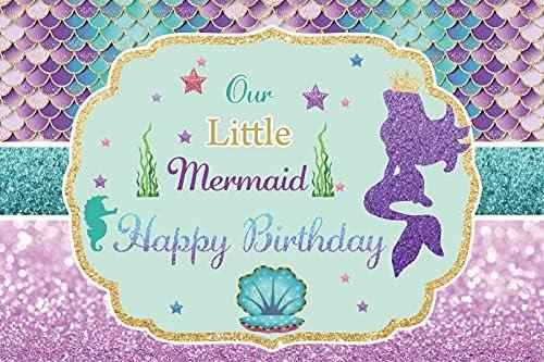 sale OERJU 14x10ft Sales for sale Little Mermaid Glitter S Backdrop Birthday