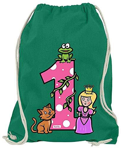 HARIZ Bolsa de deporte con diseño de princesa de cuentos de hadas para 1 cumpleaños, idea de regalo, verde (Verde) - ErsterGeburtstag44-WM110-5-1