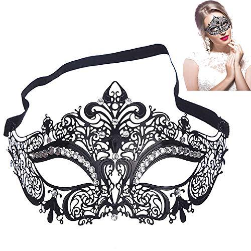 FeiLuo Maskerade Maske Sexy Venezianische Metall Maske Prinzessin Karneval Halloween Augenmaske mit Weißem Strass, Maskenball Masken für Damen, Dating & Cosplay-Party Accessoire, Schwarz