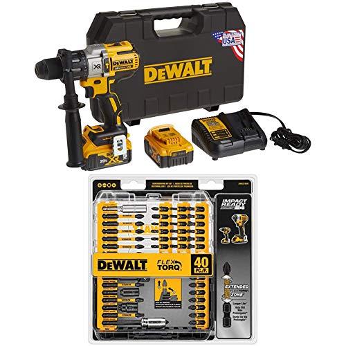 DEWALT DCD996P2 20V MAX XR Lithium Ion Brushless 3-Speed Hammer Drill Kit with DEWALT DWA2T40IR IMPACT READY FlexTorq Screw Driving Set, 40-Piece