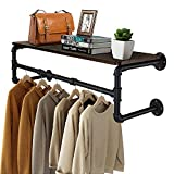 Greenstell Clothes Rack with Top Shelf, 41in Industrial Pipe Wall Mounted Garment Rack, Space-Saving Display Hanging Clothes Rack, Heavy Duty Detachable Multi-Purpose Hanging Rod for Closet Storage