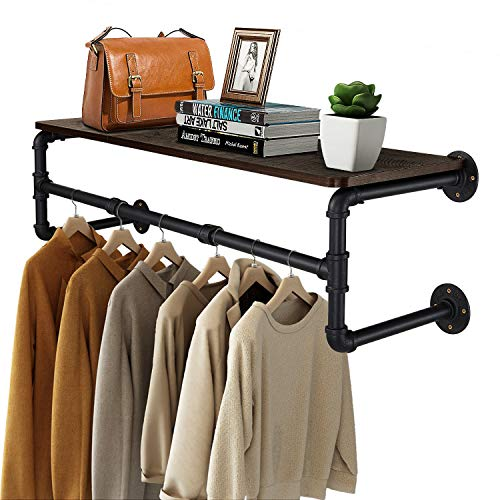 Greenstell Clothes Rack with Top Shelf 41in Industrial Pipe Wall Mounted Garment Rack Space-Saving Display Hanging Clothes Rack Heavy Duty Detachable Multi-Purpose Hanging Rod for Closet Storage