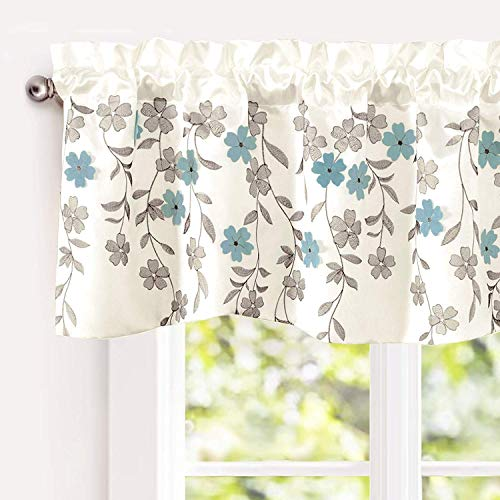 "DriftAway Isabella Faux Silk Embroidered Kitchen Swag Valance, Embroidered Crafted Flower, Single, 60""x18""+1.5"" Header(Ivory/Blue)"