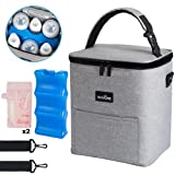 Manorie Breastmilk Cooler Bag with Ice Pack & Reusable Breastmilk Storage Bags - Insulated Baby Bottle Bag with Special PEVA Material Completely Waterproof & Leakproof - Holds Up to 6 Bottles 9 Ounce