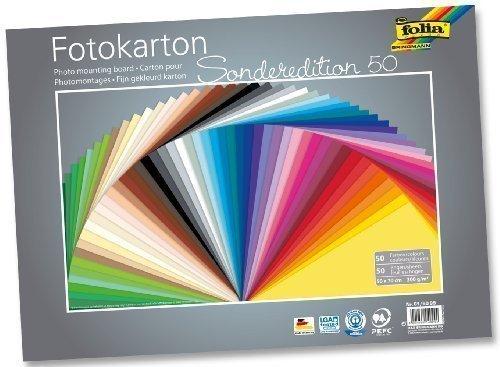 Fotokarton 50x70 cm, 300g/m² 50 Bogen farbig sortiert