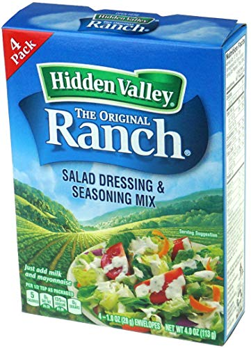 HIDDEN VALLEY THE ORIGINAL RANCH SALAD DRESSING AND SEASONING MIX 1 x 4 PACK ENVELOPES AMERICAN IMPORT