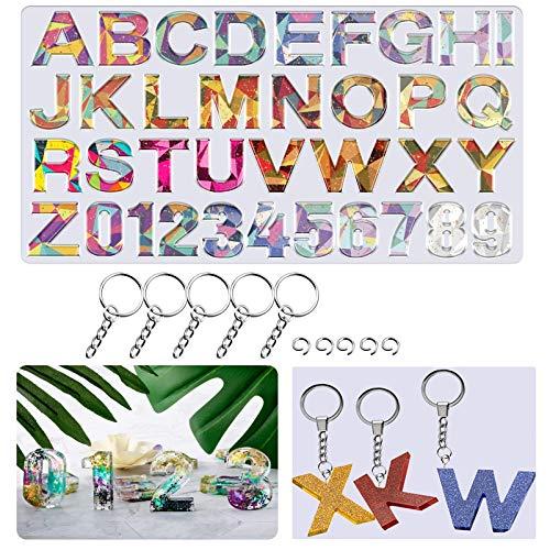 JEMESI Moldes de Fundición de Resina, Moldes de Resina de Silicona de Números y Letras Moldes de Joyería del Alfabeto para Hacer Manualidades DIY