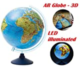 Exerz 32cm Relief Illuminated AR GLOBE with Cable Free LED Light- Physical/Political Dual