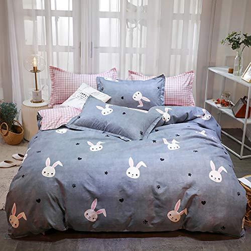 Omelas Kids Grey Bedding Rabbit Star Duvet Cover Full Queen Set Girls Pink Gingham Plaid Reversible Printed Bedding Soft Microfiber Quilt Comforter Cover,Zipper Closure,3 Pillow Shams (QQT,Q)