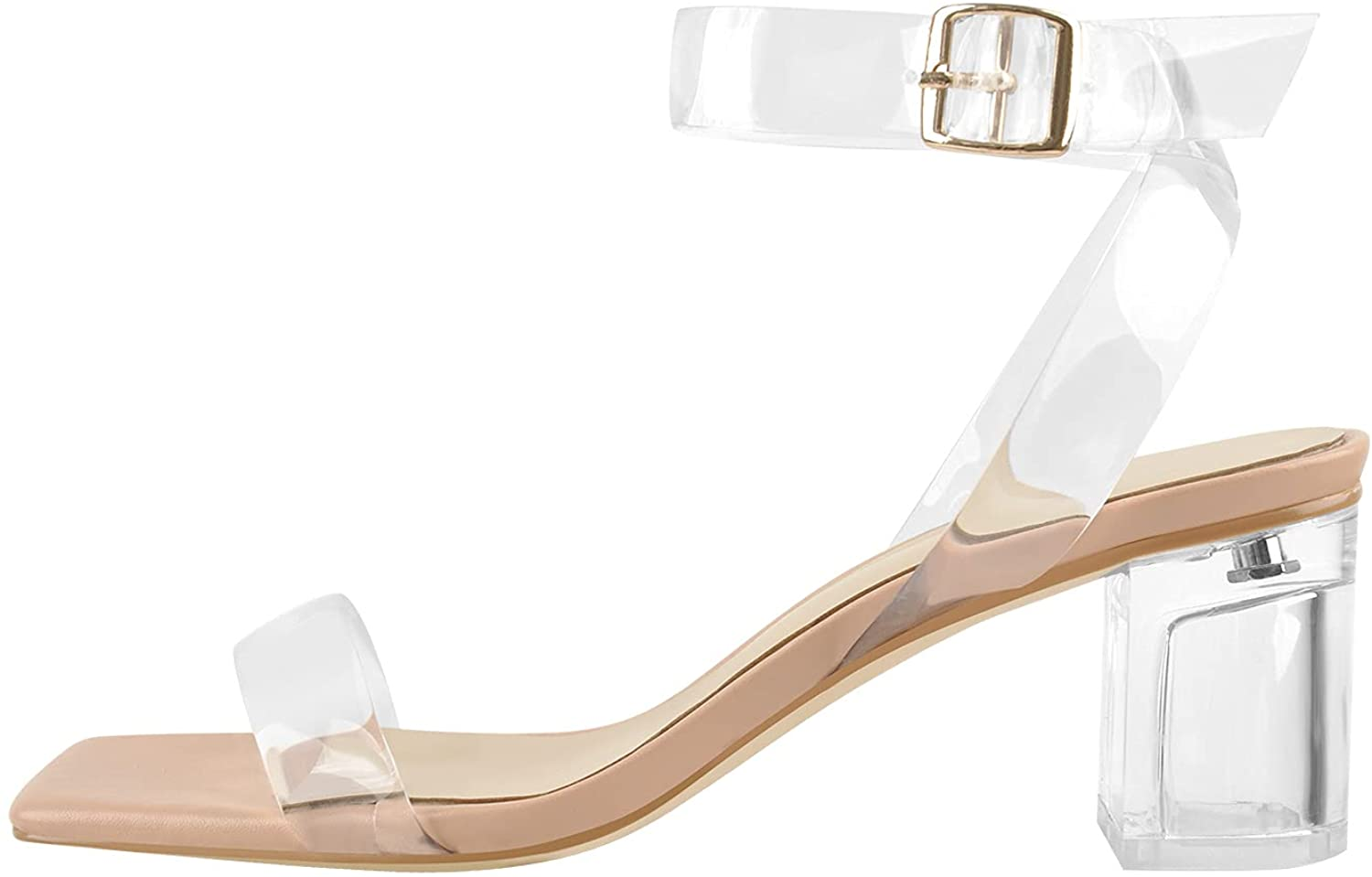 PINOKISS Women's Square Open Toe Buckle High Heel Clear Sandals