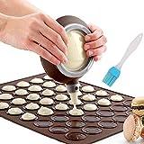 Nifogo Molde de Silicona para Macaron, 48 capacidades, Antiadherente, para Tartas, con 4 (café, X-Coffee + Pincel de Aceite, 58)