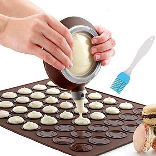 Nifogo Stampo Silicone per Macaron, 48 capacità, Antiaderente, per Torte, con 4 (caffè, X-Coffee+Pennello Olio, 58